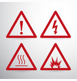 red caution danger sign hazard warning signs vector image