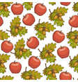 ripe apples oak tree leaves with acorn seamless vector image vector image