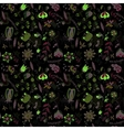 Seamless pattern flowers floral on black vector image vector image