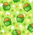 Seamless pattern with a pot of gold four-leaf vector image vector image