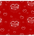 seamless pattern with engraving hearts vector image vector image