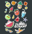 set of summer fashion patches fun stickers cute vector image