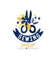 sewing shop logo design dress boutique store vector image vector image