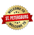 St Petersburg 3d gold badge with red ribbon vector image