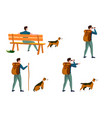 summer travel activities set - man with dog vector image vector image