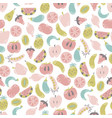 vegan seamless pattern flat fruits and vegetables vector image