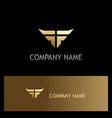 wing abstract gold company logo vector image vector image