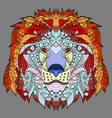 zentangle stylized cartoon head of a lion vector image vector image