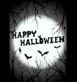 happy halloween graveyard silhouette greeting vector image
