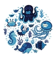 Set of cartoon marine animals in round frame vector image