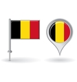 Belgian pin icon and map pointer flag vector image