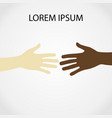 raised hands up together with different skin tone vector image