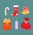 a bag with gifts a bell a candle a sock a vector image