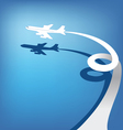 Airplane flies in sky vector image