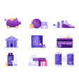 banking and payments icons in flat design vector image