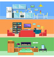 bedroom and hall kitchen rooms in apartments vector image vector image