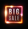 big sale banner neon square discount sign vector image vector image