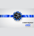 black and blue bow with horizontal ribbon and vector image vector image