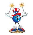bowling ball character july 4th vector image