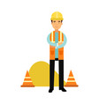 builder character in protective helmet and vest vector image