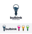 bulb ink logo design vector image