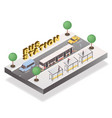 bus station isometric banner template vector image vector image