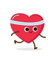 cartoon red heart run cardio exercise vector image