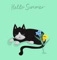 character design black cat vector image