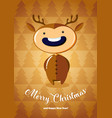 christmas card with boy in deer costume vector image vector image