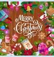 christmas tree and gifts on wooden background vector image vector image