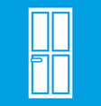 closed wooden door icon white vector image vector image