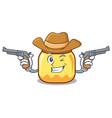 cowboy cream jar character cartoon vector image vector image