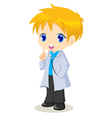 Cute cartoon of a boy as a doctor vector image vector image