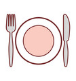 dish with cutlery utensils vector image vector image