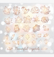 doodle sketch crystals collection of minerals vector image vector image