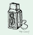 drawing of vintage camera vector image vector image