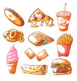fast food hand drawn set isolated from background vector image vector image