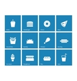 Fast food icons on blue background vector image vector image