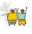 fat man on the beach sketch for your design vector image vector image
