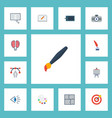 flat icons scheme writing brush and other vector image vector image