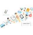 flat medicine and healthcare concept vector image vector image