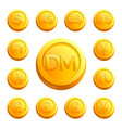 gold shiny coins with money signs various vector image