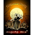 Halloween Party Invitation with Zombie Graphic vector image