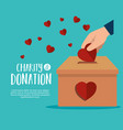 hands with hearts charity donation vector image vector image