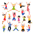 happy jumping people isometric set vector image