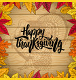 happy thanksgiving border from autumn leaves vector image vector image