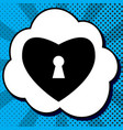 heart with lock sign black icon in bubble vector image vector image