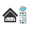 House Interrior Flat Icon with Bonus vector image