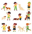 kids with dogs children with different dog vector image