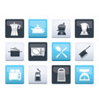 kitchen and household equipment icons vector image